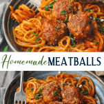 Long collage image of Homemade Meatballs