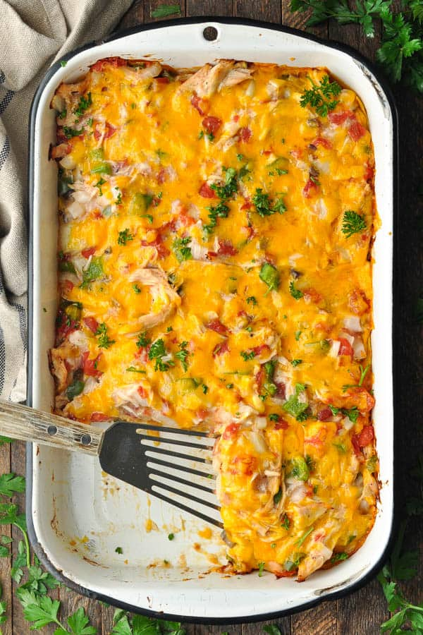Overhead shot of a casserole dish full of king ranch chicken