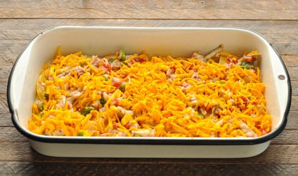 Process shot showing how to make king ranch chicken