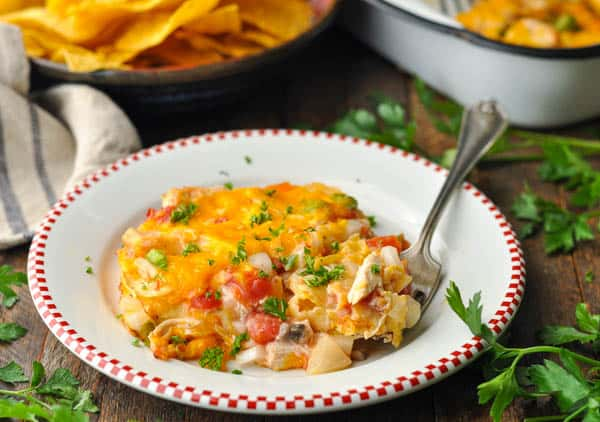 Horizontal shot of a plate of the original king ranch chicken recipe