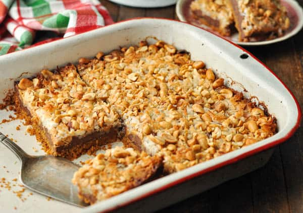 Horizontal image showing how to cut magic cookie bars