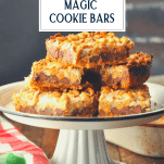 Tray of Hello Dolly Bars with text title box at the top