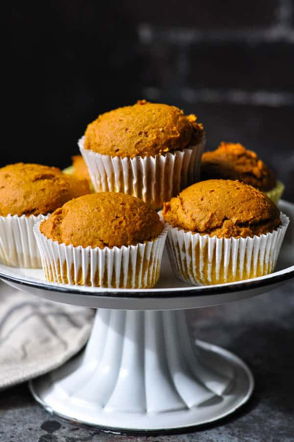 Serving tray full of easy pumpkin muffins