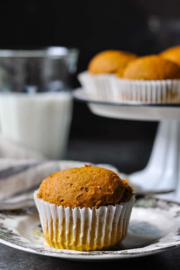 Front shot of a pumpkin muffin on a plate with a glass of milk in the background