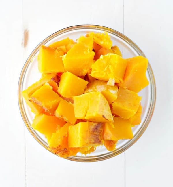 Bowl of cubed roasted butternut squash