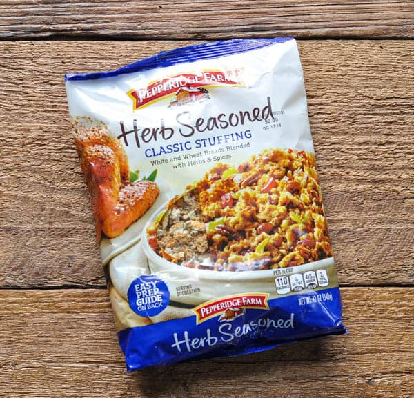 Package of pepperidge farm herb seasoned stuffing mix