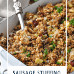 Spoon serving easy sausage stuffing recipe with text overlay