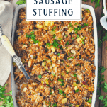 Overhead image of sausage stuffing in a white dish with text title box at the top