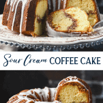 Long collage image of Sour Cream Coffee Cake