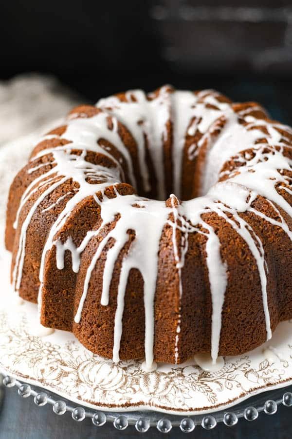 Glaze on a top sour cream streusel coffee cake