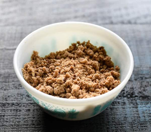 Bowl of cinnamon streusel