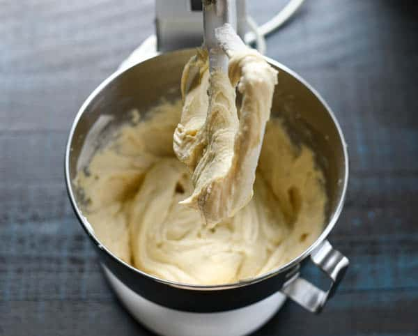 Sour cream coffee cake batter in a stand mixer