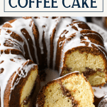 Close up shot of a sliced streusel coffee cake with text title box at the top