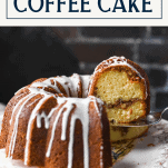 Serving a sour cream coffee cake recipe on a cake stand with a text title box at the top