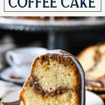 Side shot of the best sour cream coffee cake recipe with text title at top