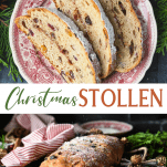 Long collage image of Christmas Stollen bread recipe