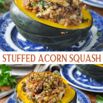 Long collage image of Stuffed Acorn Squash