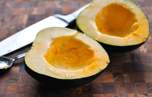 How to scoop out the seeds in an acorn squash