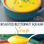 Long collage image of Roasted Butternut Squash Soup recipe