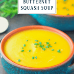 Image of a bowl of butternut squash soup with text overlay