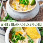 Long collage image of white bean chicken chili
