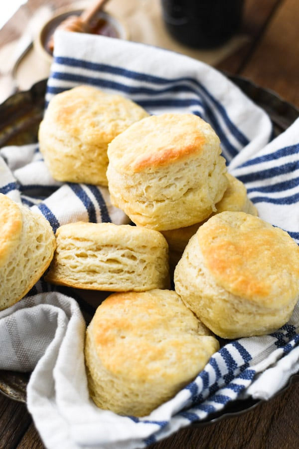 Easy 3 ingredient biscuit recipe served in a basket on a wooden table