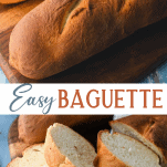 Long collage of easy french baguette recipe