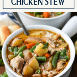 Close up shot of a bowl of homemade chicken stew with text title box at top