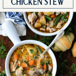Overhead image of two bowls of the best homemade chicken stew recipe with a text title box at the top