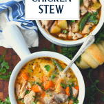 Overhead shot of two bowls of healthy chicken stew with text overlay