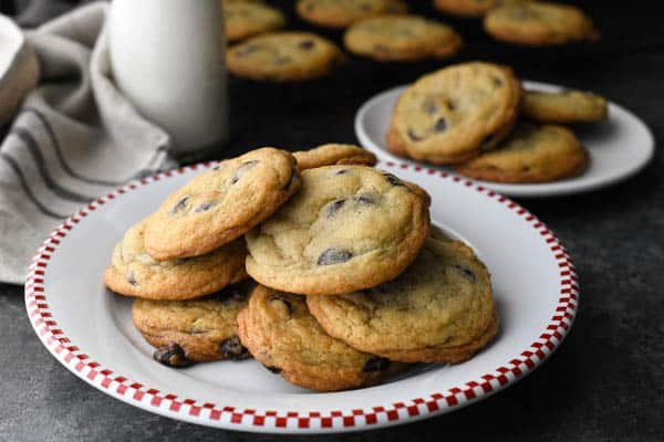 Horizontal shot of a plate of chocolate chip cookies