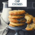 Stack of chocolate chip cookies with text title box at top