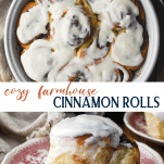 Long collage of easy farmhouse cinnamon rolls