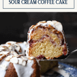 Serving slice of sour cream coffee cake with cranberry sauce with text title box at top