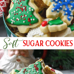 Long collage image of soft cut out sugar cookies