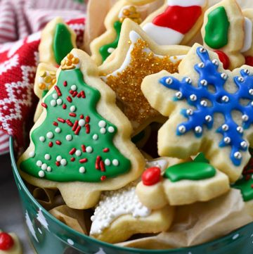 Cookie tin full of the best sugar cookie recipe