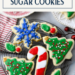 Text title box over an image of cut out sugar cookies