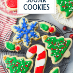 Cooling rack full of the best sugar cookie recipe with text title overlay
