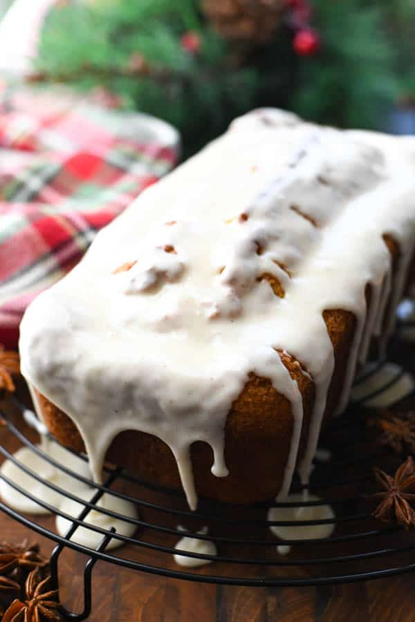 Eggnog glaze on a loaf of quick bread