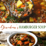 Long collage image of Hamburger Soup