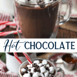 Long collage of homemade hot chocolate recipe