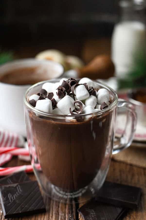 Mug of homemade hot chocolate with marshmallows on top