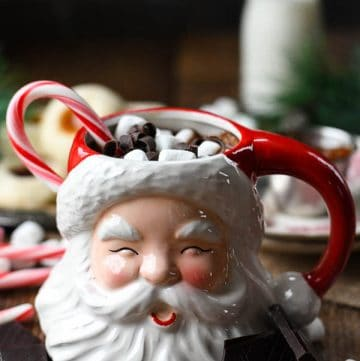 The best homemade hot chocolate recipe served in a Santa mug