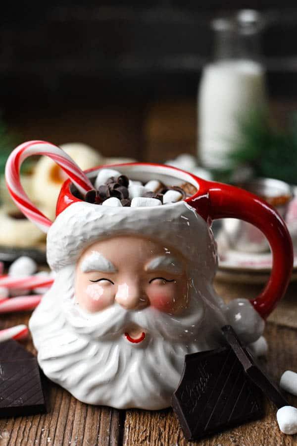 The best homemade hot chocolate recipe served in a Santa mug