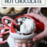 Homemade hot chocolate in a Santa mug with text title box at top