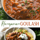 Long collage image of Hungarian Goulash