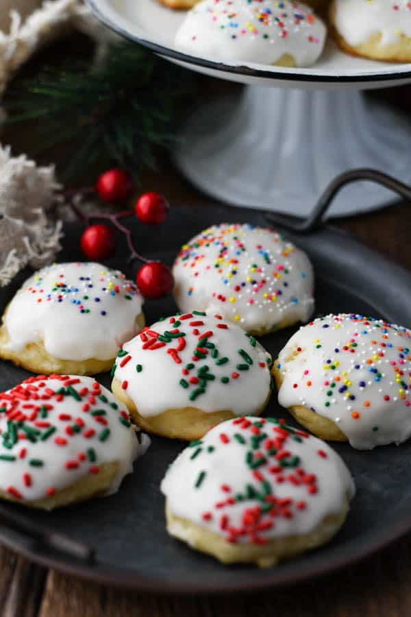 Tray of ricotta cookies on a Christmas table