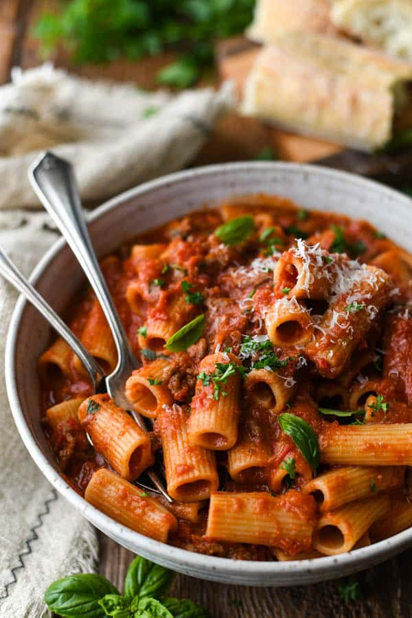 Close up side shot of a bowl of Italian Sausage Pasta