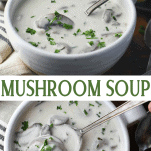 Long collage image of creamy mushroom soup
