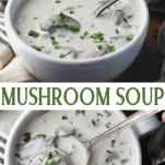 Long collage image of creamy mushroom soup